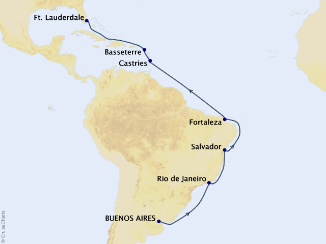 17-night Brazilian Adventure Cruise Itinerary Map