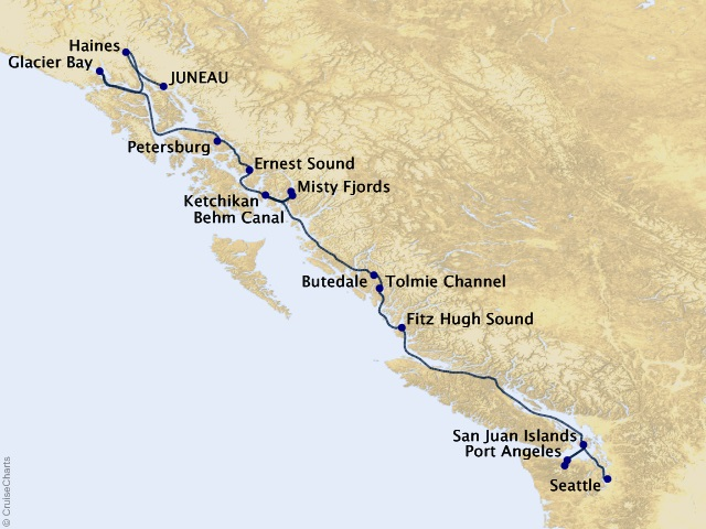 14-night Alaska's Inside Passage & San Juans Cruise Map