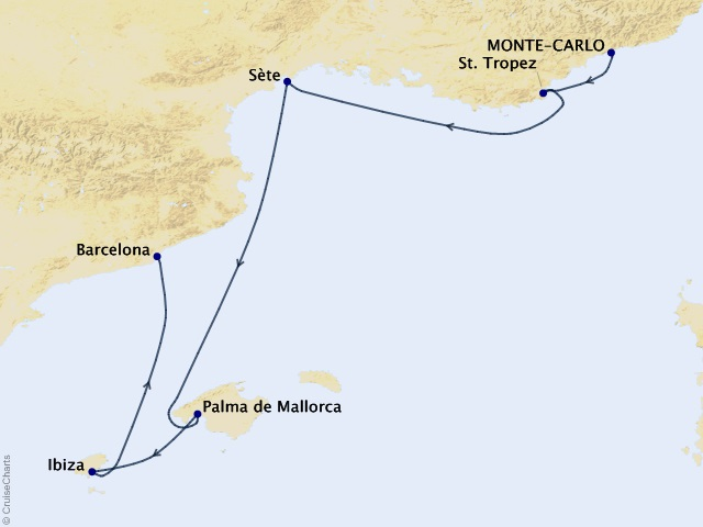 7-night Côte d'Azur to Catalonia Cruise Map