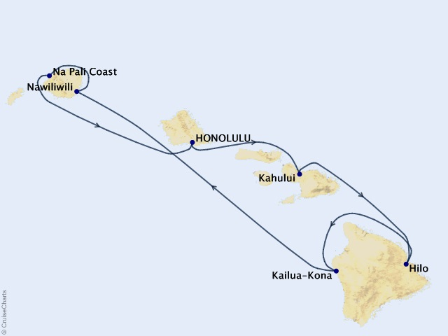 7-night Hawaii, Roundtrip Honolulu Cruise Itinerary Map