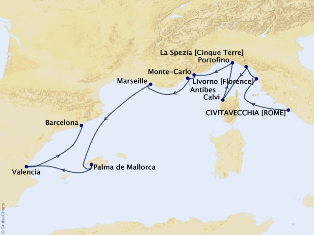 10-night European Rhapsody Voyage Map