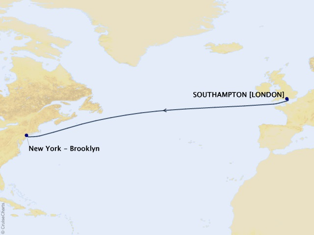 7-night Westbound Transatlantic Crossing Cruise Itinerary Map