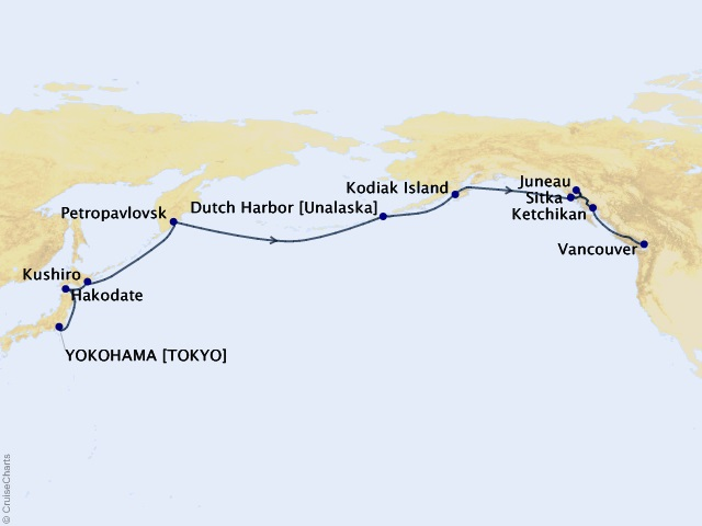 18-night Transoceanic Cruise Map
