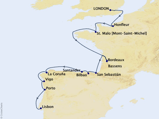 13-night Northern Europe and British Isles Cruise Itinerary Map