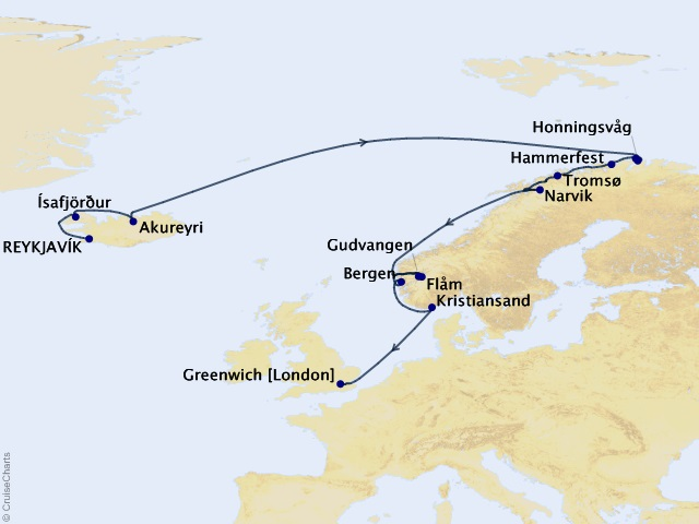 15-night Northern Europe Cruise Map