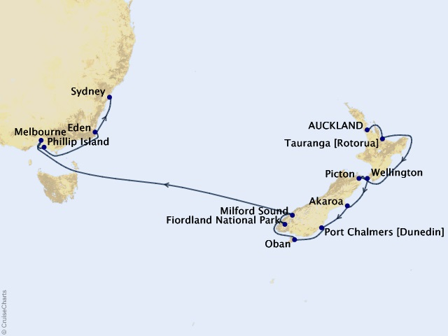 16-night Wellness in Australia & New Zealand Cruise Map