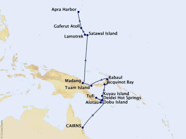 16-night South Pacific Islands Expedition Cruise Map
