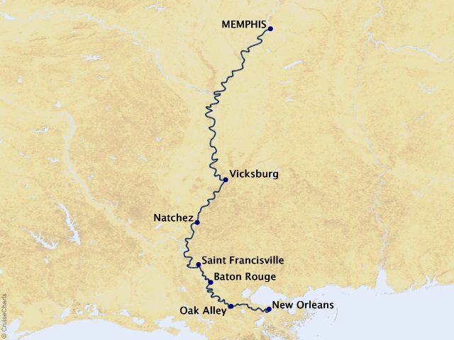 7-night Lower Mississippi River Cruise Map