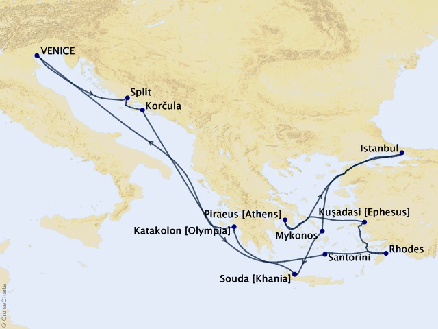 14-night Greek Enchantment and Aegean Sunsets Cruise Map