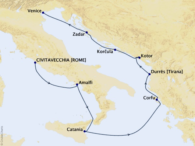 9-night Enchantment of Croatia Cruise Map