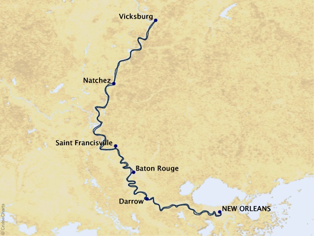 7-night Southern Celebration River Cruise Map