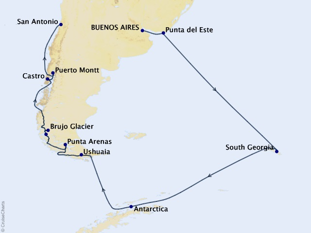 24-night Holiday Antarctica, Patagonia, & South Georgia Island Cruise Map