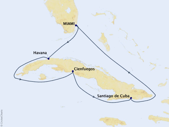 7-night Timeless Cuba Voyage Map