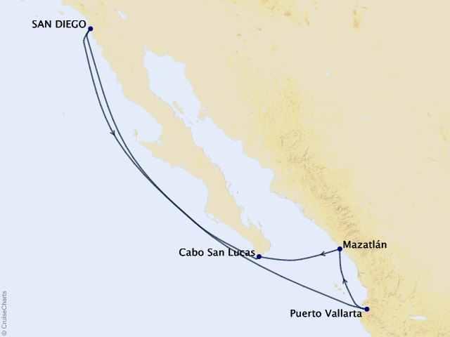 7-night Mexican Riviera Cruise Itinerary Map