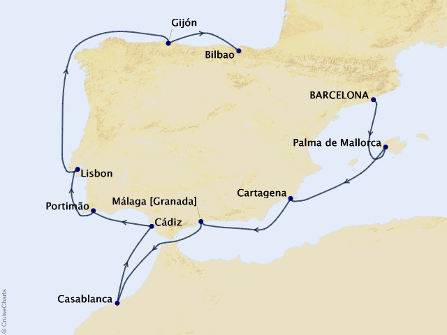 10-night Idyllic Iberia Cruise Map
