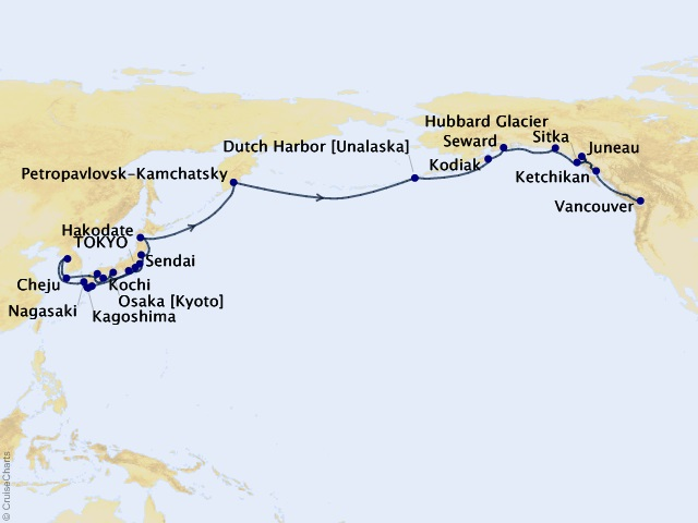 33-night Mount Fuji To Hubbard Glacier Cruise Map