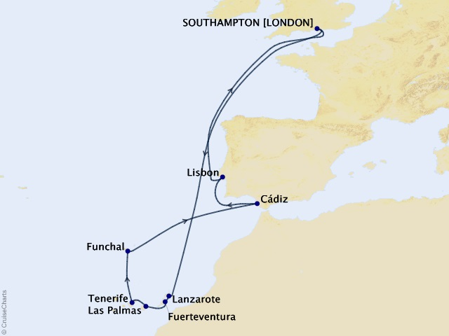 15-night Canary Islands Celebration Cruise Map