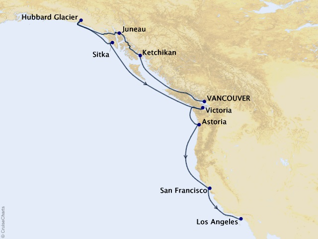 12-night Wondrous West Coast Cruise Map