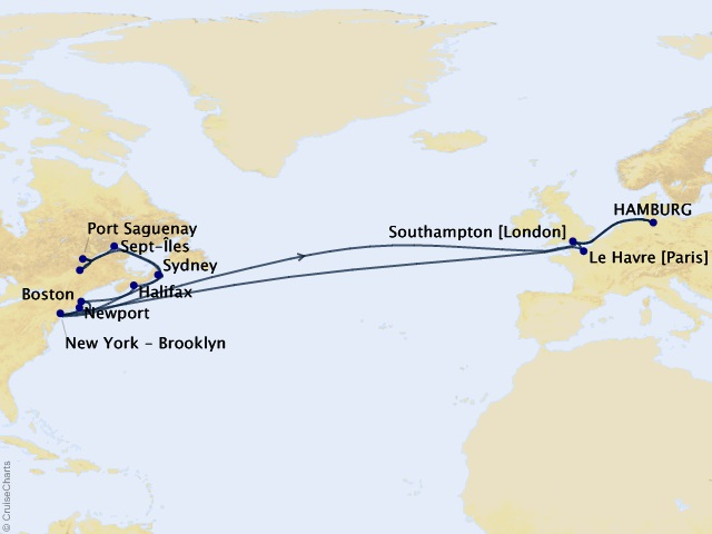 33-night Transatlantic, New England, & Canada Cruise Map