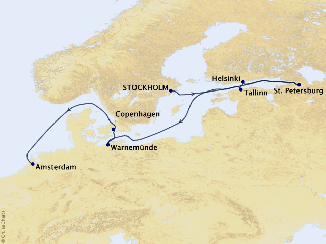 12-night Baltic Vistas Cruise Map