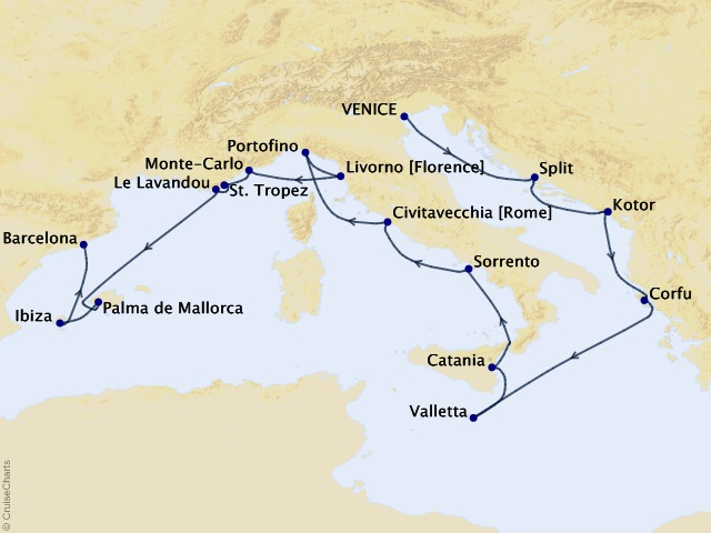 17-night Grand Journey – Adriatic, Ionian, & Balearic Seas Cruise Map