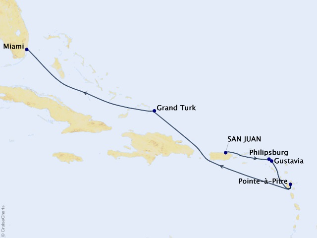 7-night Caribbean Idylls Cruise Map