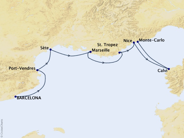 7-night France Intensive Voyage Itinerary Map