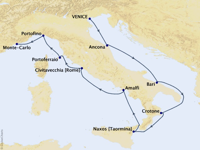 10-night Inspiring Italy Voyage Map