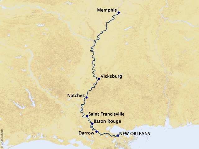 7-night Heart of the Delta River Cruise Itinerary Map