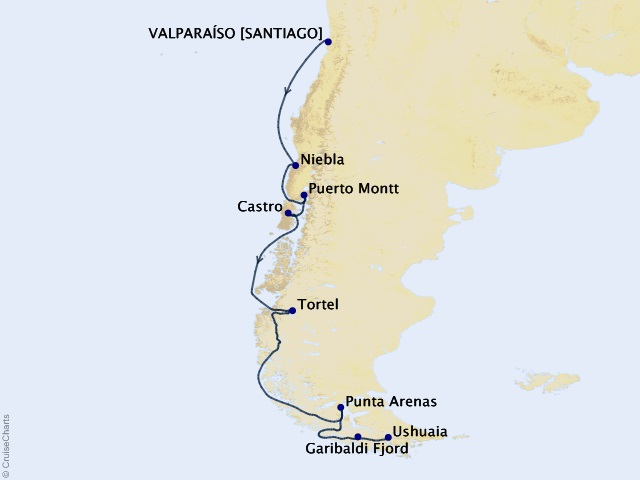 14-night South America Cruise Map