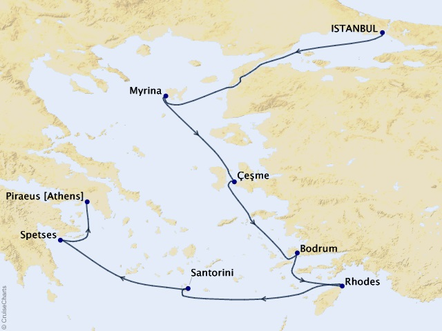 7-night Greek Isles and Turquoise Coast Cruise Map