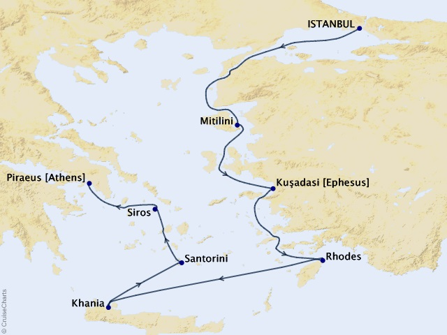 7-night Aegean & Ancient Tides Voyage Map