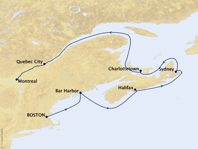 Canada & New England Discovery Cruise Map