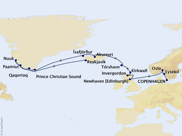 18-night Fjords of Iceland Cruise Map