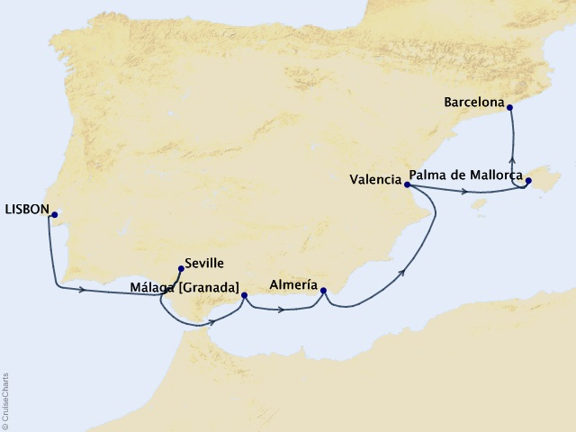 Spain Intensive Voyage Map