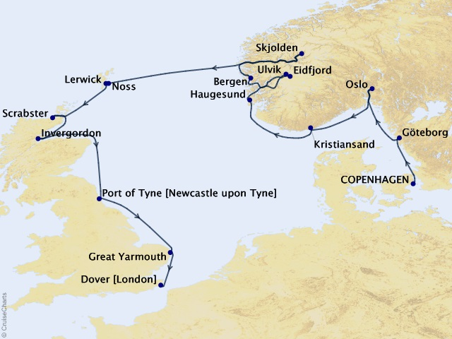 Norway & Northern Isles Cruise Map