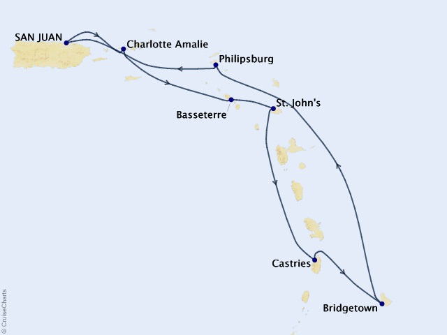 7-night Southern Caribbean Cruise Itinerary Map
