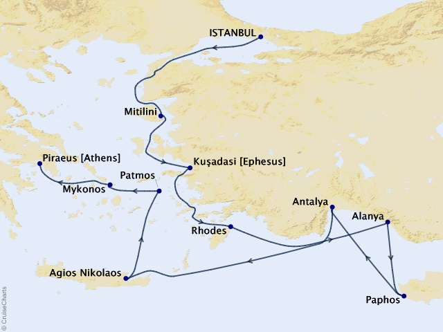 10-night Idyllic Greek Isles Voyage Map