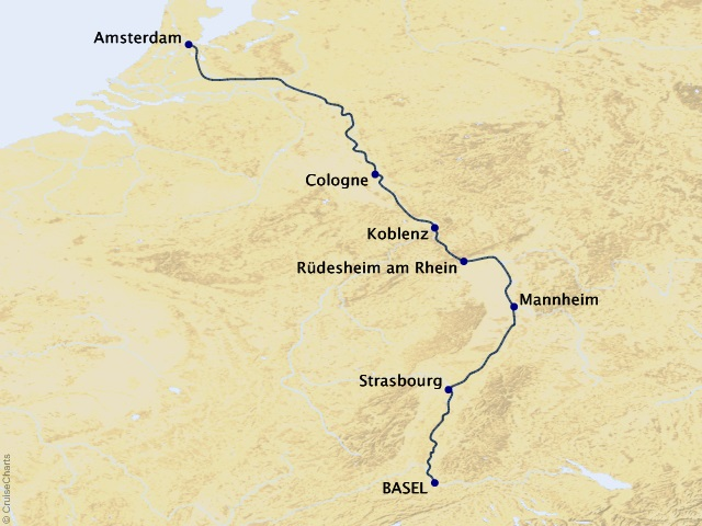 7-night Legendary Rhine River Cruise Map