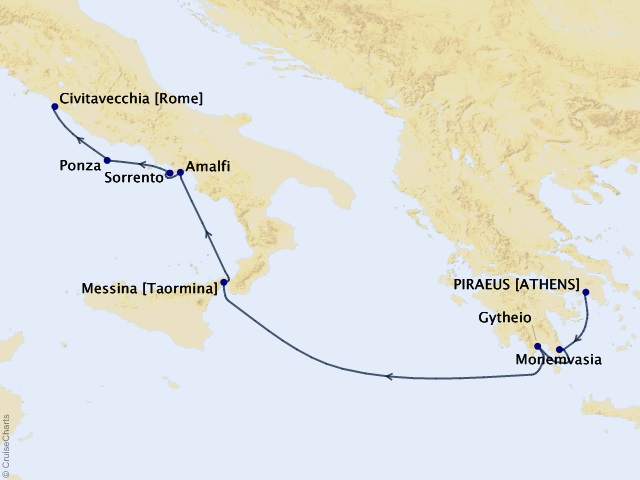 8-night Enchanting Greece and the Amalfi Coast Cruise Map