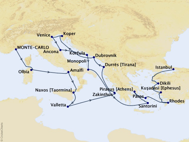 22-night Royalty to Rulers Voyage Map