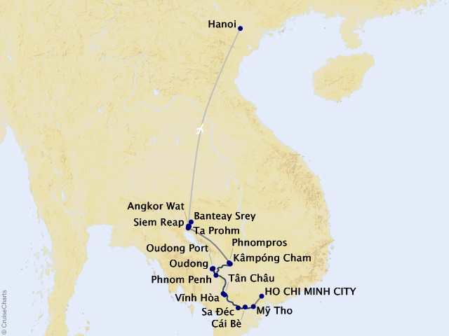 14-night Magnificent Mekong Cruisetour Map