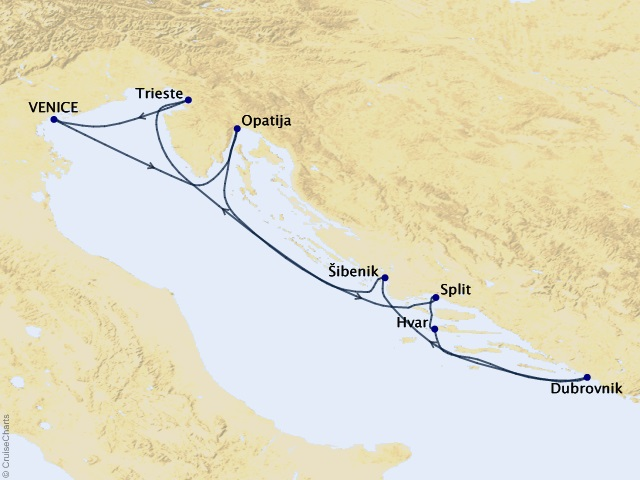 7-night Adriatic Sea Cruise Map