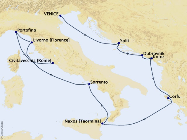 10-night Flavors of Florence Cruise Map