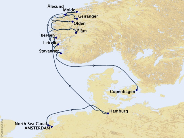 14-night Scenic Norway & Fjords Cruise Map