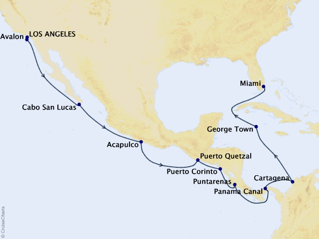 16-night Catalina, Canal & Cayman Cruise Map