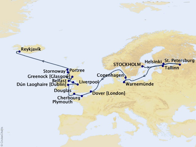 24-night Grand Journey – the Baltic, British Isles, & Iceland Cruise Map