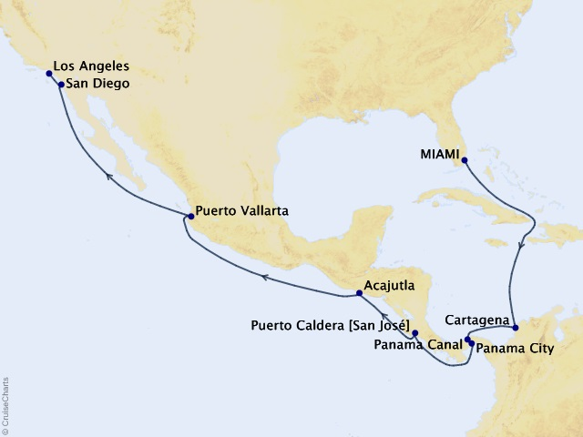 16-night Coral Sunsets & Golden Panama World Segment Cruise Map