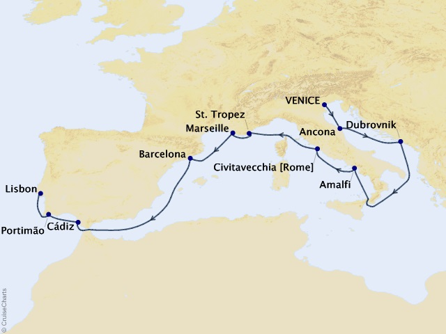 12-night Mediterranean Traveler Voyage Map