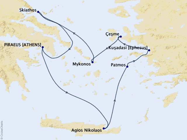 7-night Greek Isles & Ephesus Cruise Map